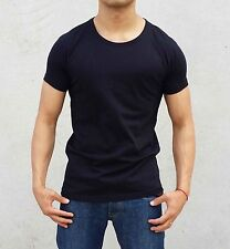 NEW 2 PACK MENS PLAIN BLACK CREW NECK T SHIRT SLIM FIT MUSCLE CASUAL FASHION GYM