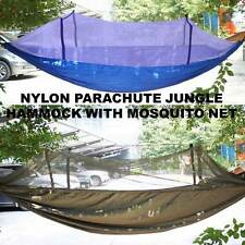 PORTABLE PARACHUTE HIGH STRENGTH NYLON JUNGLE CAMPING HAMMOCK WITH MOSQUITO NET