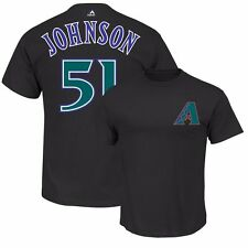 Randy Johnson Arizona Diamondbacks Cooperstown Player Jersey Black T Shirt Men's
