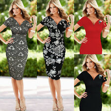 Womens Elegant Floral Deep V Neck Party Evening Wear to Work Sheath Dress 546