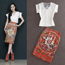 New star favorite fashion sexy tops+Modern Vintage printed skirt makings suit