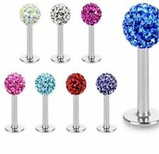 Multi Crystal Ferido Labret Lip Tragus Monroe Bar - 6, 8 or 10mm - UK SELLER