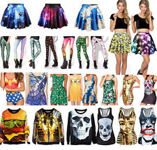 Womens 3D Digital Print Costume One Piece Bikini Tank Top Short Skirt Dress Tops