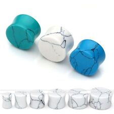 "Pair 2G-5/8"" Turquoise Saddle Gemstone Solid Ear Plug Tunnel Expander Stretcher"