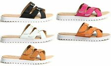 Womens Ladies Hook & Loop Strap Mules Summer Shoes Faux Leather Sandals