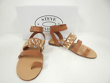 Steve Madden Curlyy Cognac Leather Flat Ankle Strap Sandals w/ Gold Hardware-New