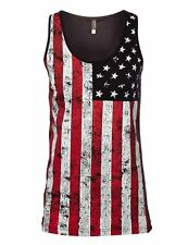 Men's Vintage American flag Art Graphic Tank Top.100% Cotton (Black,White)