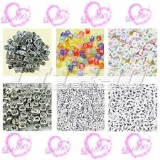 100 pcs silver/white acrylic cube/ flat round mixed alphabet letter beads 6/7mm