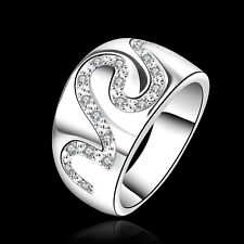Fashion Women 925 Solid Sterling Silver Plated Crystal Snake Ring Size 7 8 R580