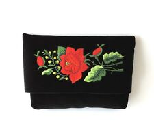 Small black velvet Bag with folk embroidery (Lowicz Rose)