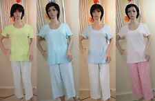 NAUTICA solid short sleeve sleep shirt &floral or striped cropped pants set,M,L