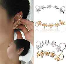 Crystal Star Flower beaded shine Ear Cuff Stud Earring Wrap Clip On Ear 1 piece