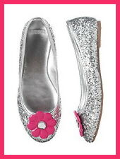 Gymboree Silver Glitter Shoes Youth 1 2 NWT Flower Of Showers Smart And Sweet