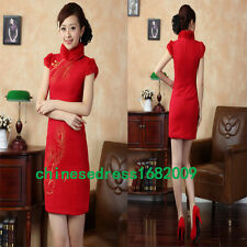 red Chinese women's embroider winter short sleeves Dress/Cheong-sam S-2xl