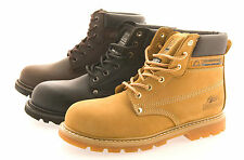 Mens Size 3 - 14 Leather Steel Toe Cap Safety GROUNDWORK Work Boots Lace Up