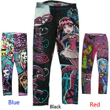Children Monster High Girls Leggings Skinny Printed Pencil Pants for 5-16 Y