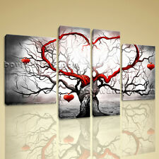 Large Stretched Canvas Print Abstract Heart Love Tree Painting Picture Wall Art