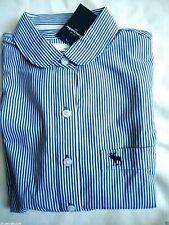 NWT Abercrombie Kids Girls' Striped Long-Sleeved White/BlueShirts SZ:XL $44.50
