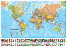 Large World Wall Map (POLITICAL) Including Flags *FREE UK SHIPPING*