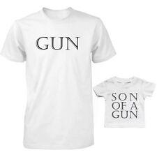Dad and Baby Matching White T-Shirt and Infant T-shirt Set - Gun / Son of a Gun