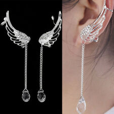 Women Fashion Elegant Angel Wing Crystal Earrings Drop Dangle Ear Stud Cool Cuff