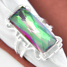 50% OFF Rectangle Cut Rainbow Fire Mystic Topaz Gemstone Silver Ring Size 7 8 9