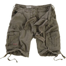 Surplus Mens Army Style Combat Airborne Vintage Cargo Cotton Shorts Olive Washed