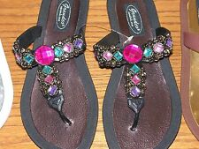 Grandco Fancy Dressy Thong Sandals,, Black, White, Brown FREE Shipping Flip Flop