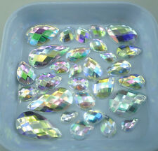 Faceted water drop Clear AB Acrylic Crystal Diamante flat back Rhinestones Sew