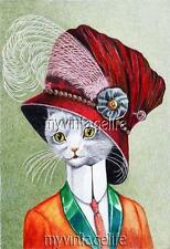 Vintage Lady Cat in a beautiful Hat Quilting Fabric Block