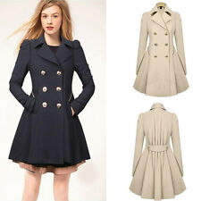 Fashion Women Double-breasted Slim Fit Warm Long Outwear Trench Coat Parka