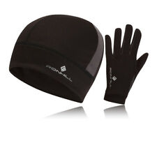 Ronhill Vizion Thermalite Mens Black Running Sports Beanie Hat+Gloves Set New