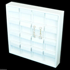 16 White Leatherette Stud or Dangle Earring Flap Jewelry Display Tray