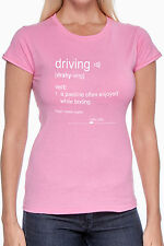 Definition of Driving - Women's Custom Cotton Graphic Tshirt White Ink on Pink