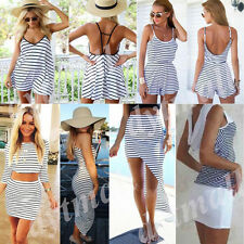 Women Sexy Celeb Stripe Sleeveless Summer Beach Ladies Jumpsuit Playsuit Dress