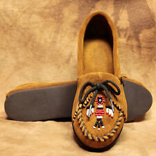 LADIES MINNETONKA MOCCASINS THUNDERBIRD BEADED DESIGN~NIB STYLE 652