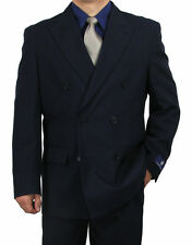 SHARP 2pc DOUBLE BREASTED DB MEN DRESS SUIT NAVY 50R-62L tb06