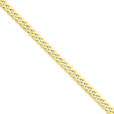 14K Yellow Gold 7.25mm Flat Beveled Curb Solid Link Bracelet 7 - 9""