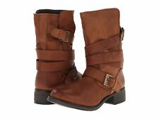 Steve Madden Womens Brewzzer Brown Leather Buckle Straps Mid Calf Riding Boots