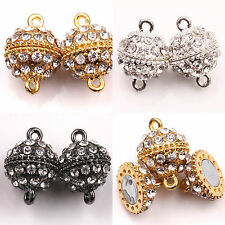 New 5/10 Sets Round Ball Crystal Rhinestone Strong Magnetic Clasps DIY 19x13mm