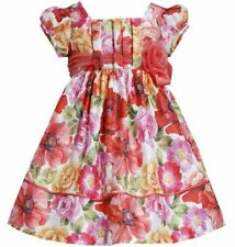 NWT Bonnie Jean Girls Coral Floral Shantung Organza Flower Party Dress 2T 3T 4T
