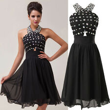 Sexy Halter Black Beading Graduation Evening Party Ball Gown Short Prom Dresses