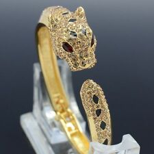 Panther Leopard Bracelet Cuff Bangle with Clear Swarovski Crystals SKSA1369M