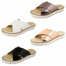 Ladies Womens Dolcis Cleated Flat Sole Slip On Sliders Sandals Flip Flops Shoes