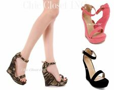 Women Platform Wedge Sandals Camouflage High Heels Shoes Ankle Strap Shoes NEW