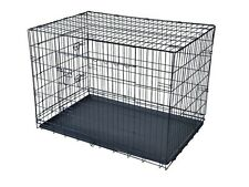 USA New Black 2 Door Pet Cage Folding Dog Cat Crate Cage Kennel  ABS Tray