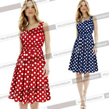 Womens Summer Belted Rockabilly Polka Dot Pleated Party Skater Flare Dress 738