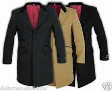 Men's Wool & Cashmere Luxury Blend Slim Fit Crombie Coat *Casual & Formal Wear*