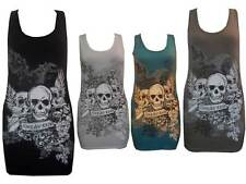 NEW LADIES FOREVER YOUNG SKULL PRINTED WOMENS VEST /TOP T-SHIRT SIZE SM & M/L