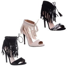 Womens Ladies Lace Up Strappy Fringe Stiletto High Heel Peep Toe Sandals Size